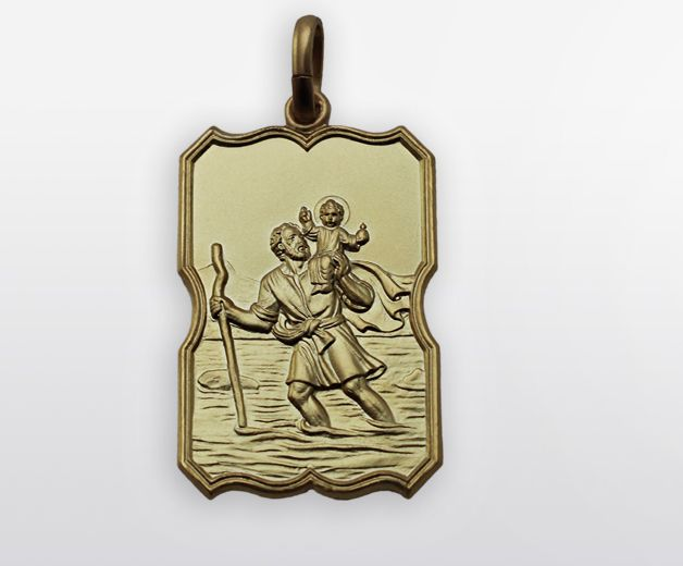 Médaille baroque St Christophe plaqué or