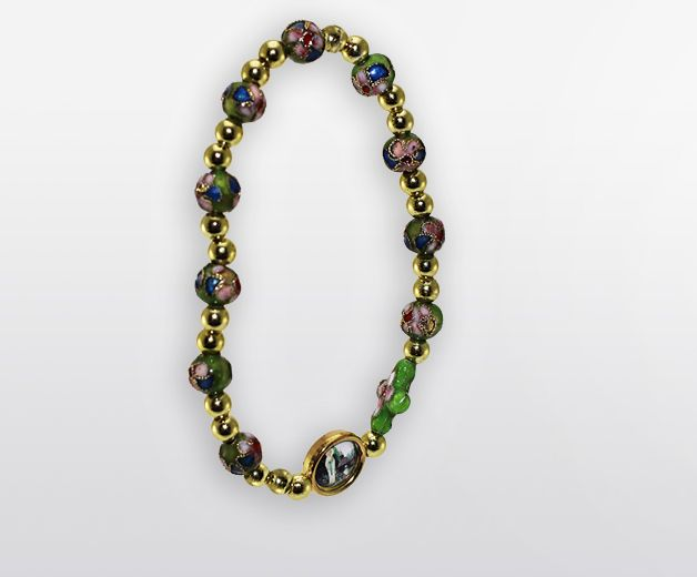 Bracelet fleuri vintage style cloisonné