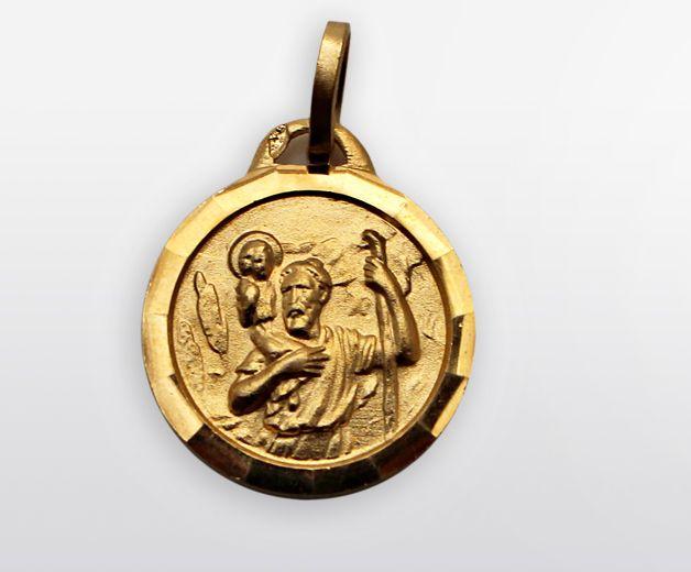 Médaille St Christophe plaquée or 15mm