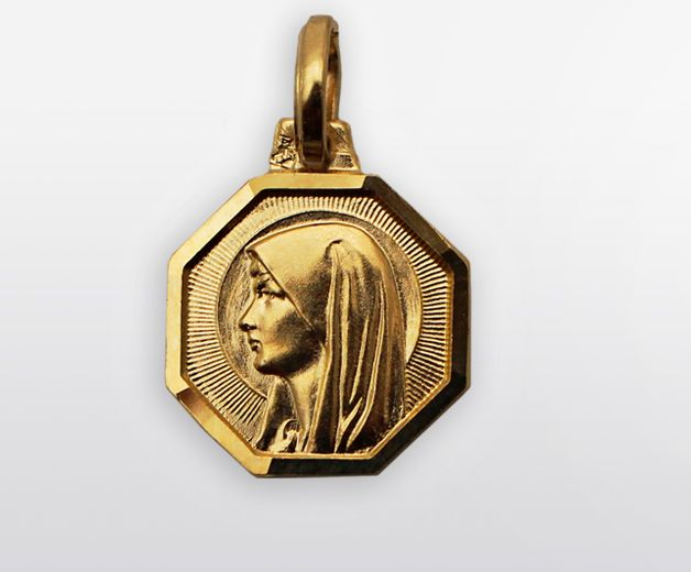 Médaille Vierge Marie plaquée or 10mm
