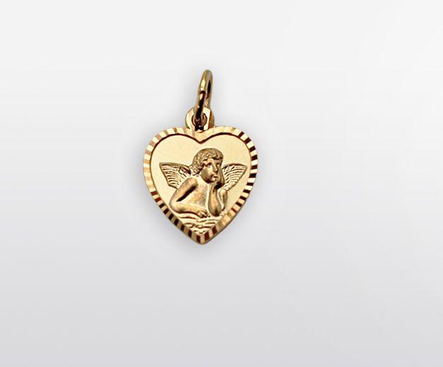 Pendentif coeur en or avec Ange 18c