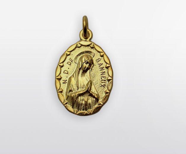 Médaille Notre Dame de Banneux 20mm argent et or