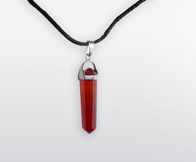 Pendentif / Collier pierres de Cornaline - Minéral rouge orangé