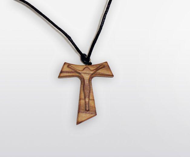 Pendentif croix de Saint Antoine en bois d'olivier 38cm