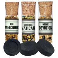 3 X Flacon d'encens + charbons (Dévotion, Melchior, Vatican)