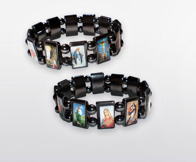 Lot de 2 bracelets des 12 saints - Pierres naturelles d'hématites