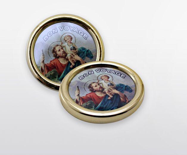 Lot de 2 X Médaille St Christophe aimantée pour auto, frigo