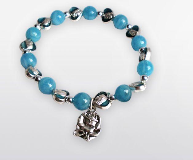 Bracelet chapelet bleu avec coeurs - Vierge de Lourdes et Rose mystique