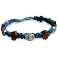 Bracelet tressé bleu ciel : Médaille miraculeuse et croix de Jésus