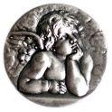 Aimant ange gardien mignon 25mm argenté