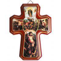 Croix des Archanges en bois 16x12cm