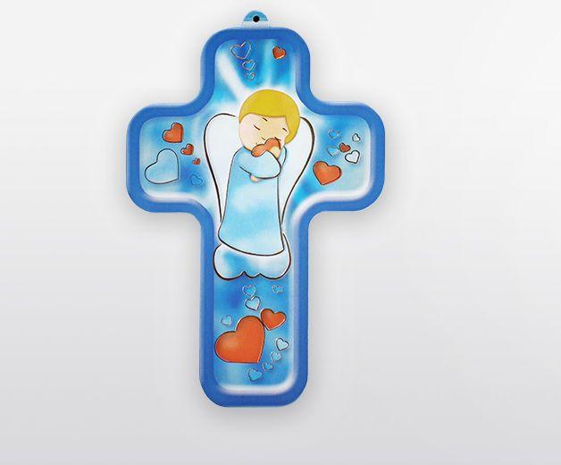 Croix petit ange lumineux avec coeur