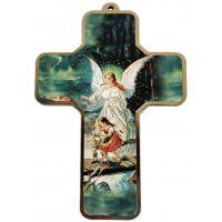 Croix / Crucifix VERT - Ange bienveillant. Enfants paisibles