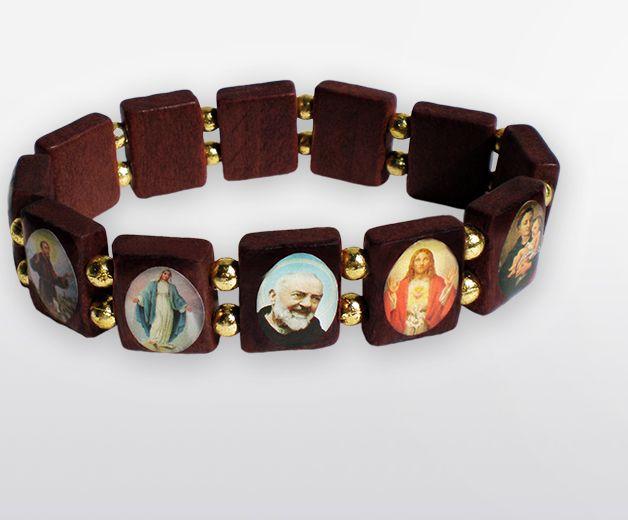 Bracelet religieux des saints en bois