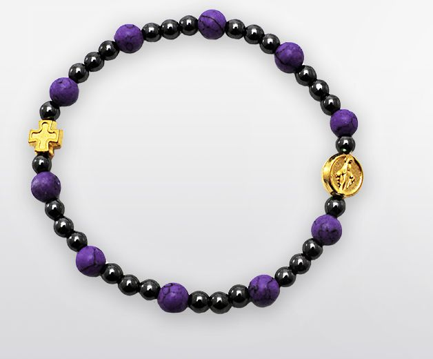Bracelet élastique chrétien - Améthyste mauve