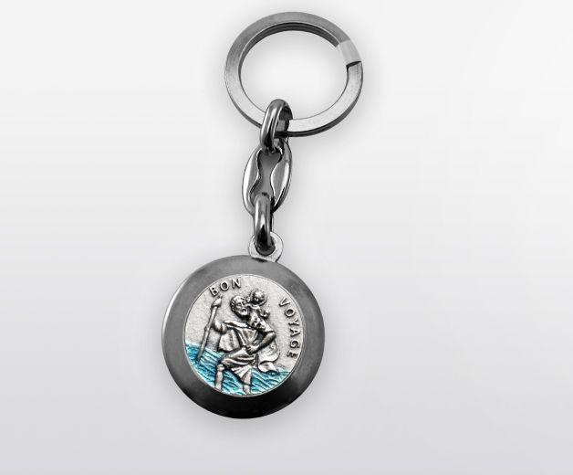 Porte-clef Saint Christophe métal argenté