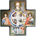 Croix à thème Saint Benoit - Lumineux 14,5 x 14,5cm