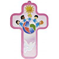 Croix / Crucifix ROSE - Enfants autour de la Terre - Paix et apaisement