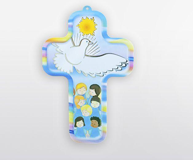Croix murale avec colombe, représentation enfant