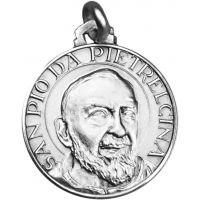 Médaille Saint Padre Pio argent 18mm