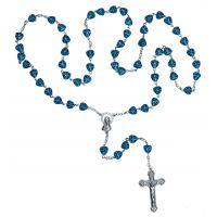 Chapelet perle bleu avec Vierge Marie et croix